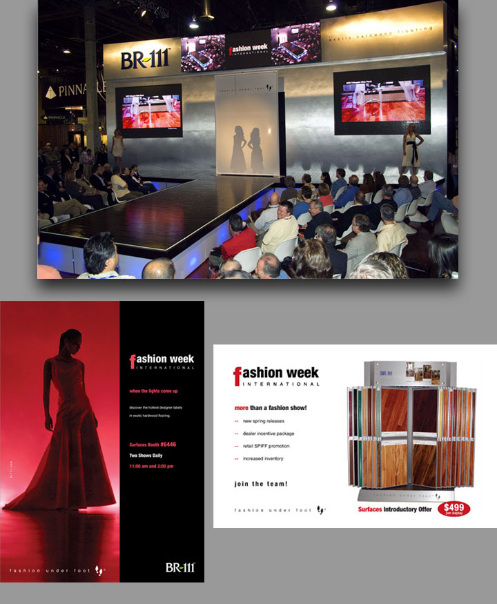 Fashion Week International magazine ad and tradeshow images