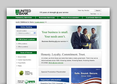 United Bank website thumbnail
